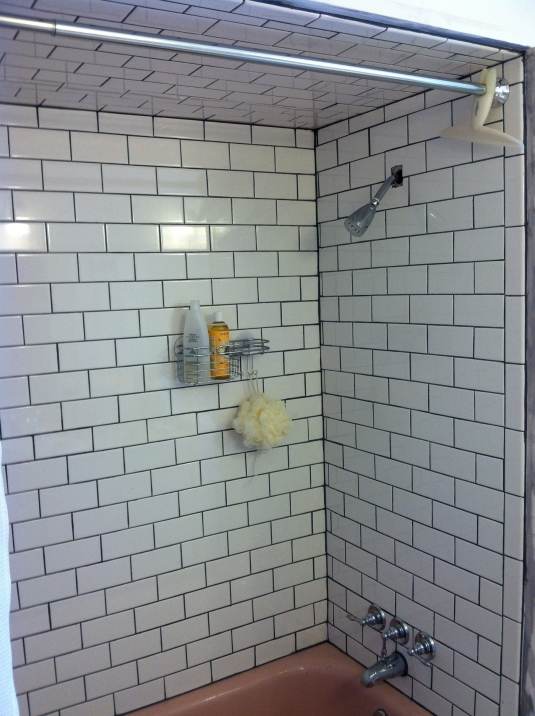 White subway tile, dark grout